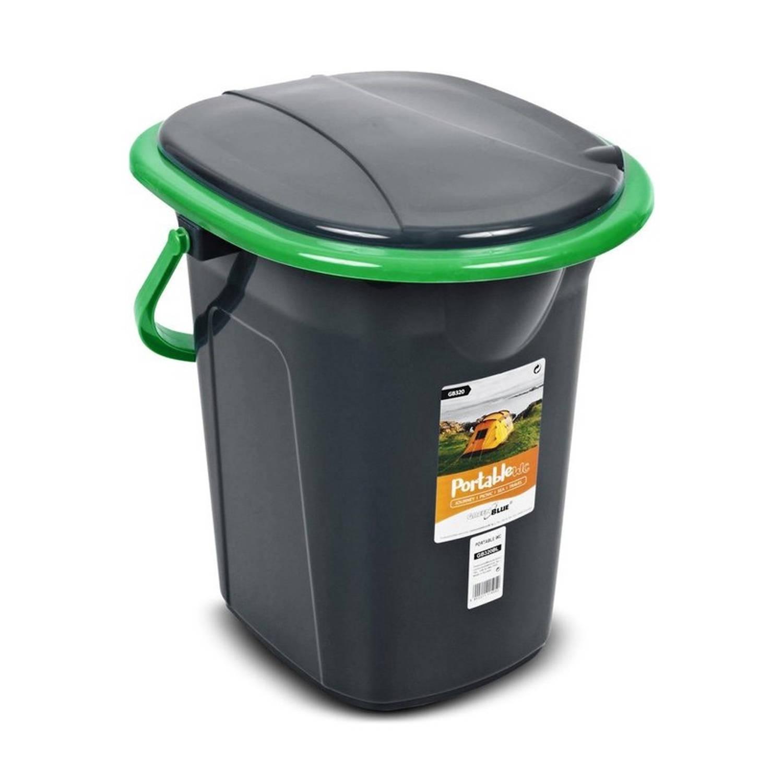Korting Greenblue Draagbare Toiletbak 19 Liter Toiletemmer Zwart\groen