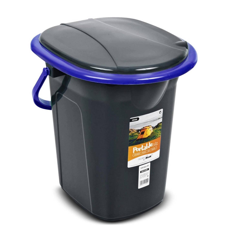 Korting Greenblue Draagbare Toiletbak 19 Liter Toiletemmer Zwart\blauw