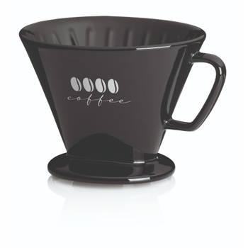 Korting Koffiefilterhouder L, Porselein, Zwart Kela Excelsa