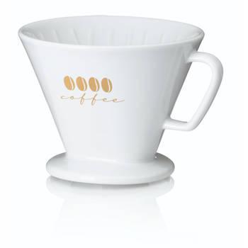 Korting Koffiefilterhouder L, Porselein, Wit Kela Excelsa