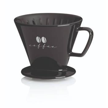 Korting Koffiefilterhouder S, Porselein, Zwart Kela Excelsa