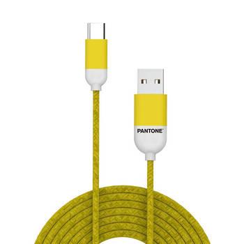 Korting Usb kabel Type c, 1,5 Meter, Geel Rubber Celly Pantone