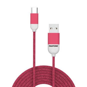 Korting Usb kabel Type c, 1,5 Meter, Rood Rubber Celly Pantone