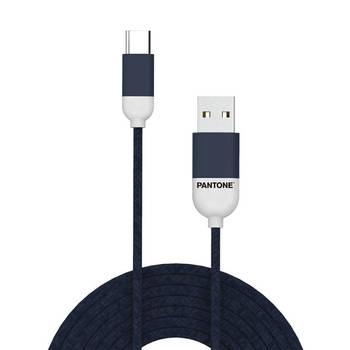 Korting Usb kabel Type c, 1,5 Meter, Blauw Rubber Celly Pantone
