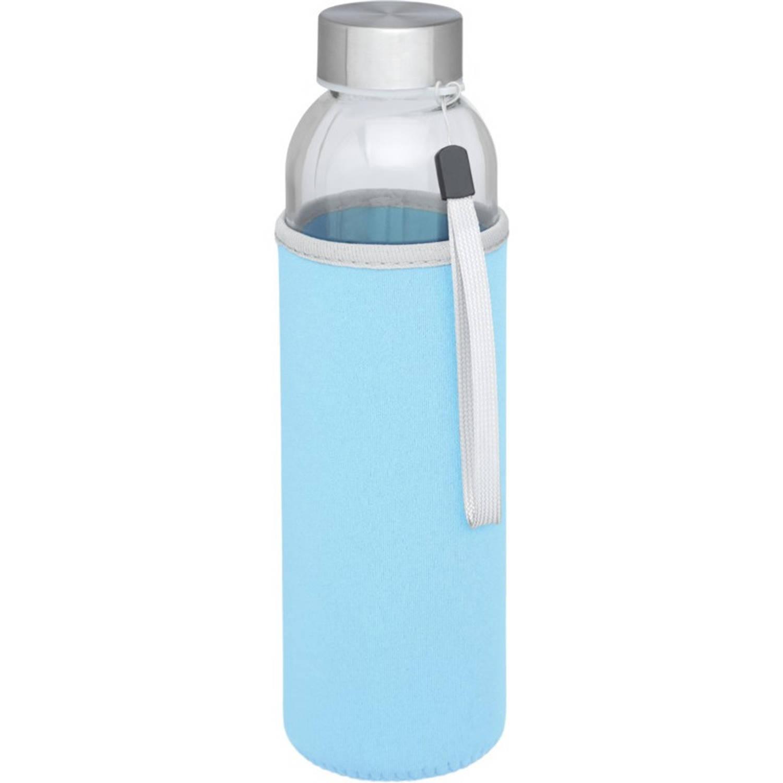 Korting Glazen Waterfles drinkfles Met Lichtblauwe Softshell Bescherm Hoes 500 Ml Sportfles Bidon