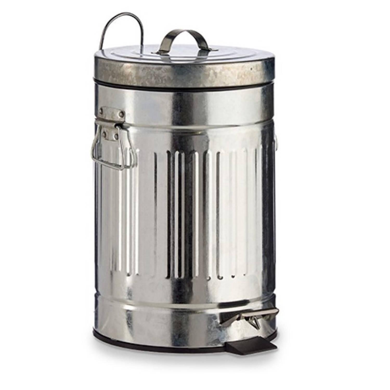 Vuilnisbak/pedaalemmer Zilver 7 Liter 34 Cm Metaal - Prullenbakken