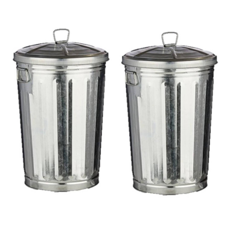 2x Stuks Vuilnisbakken/vuilnisemmers Zilver Met Deksel 17 Liter 36 Cm Metaal - Prullenbakken