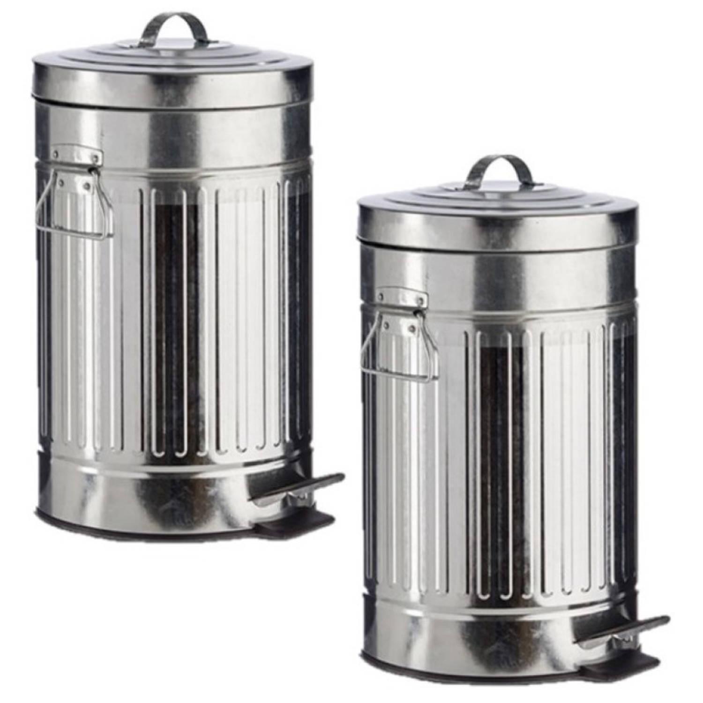 2x Stuks Vuilnisbakken/pedaalemmers Zilver 12 Liter 45 Cm Metaal - Prullenbakken