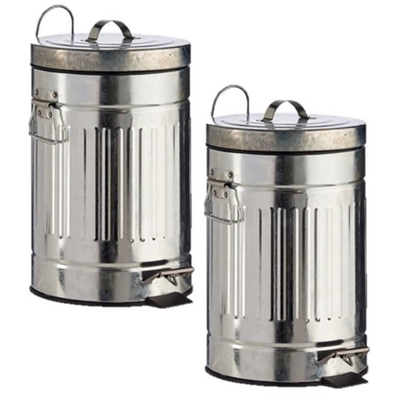 2x Stuks Vuilnisbakken/pedaalemmers Zilver 7 Liter 34 Cm Metaal - Prullenbakken