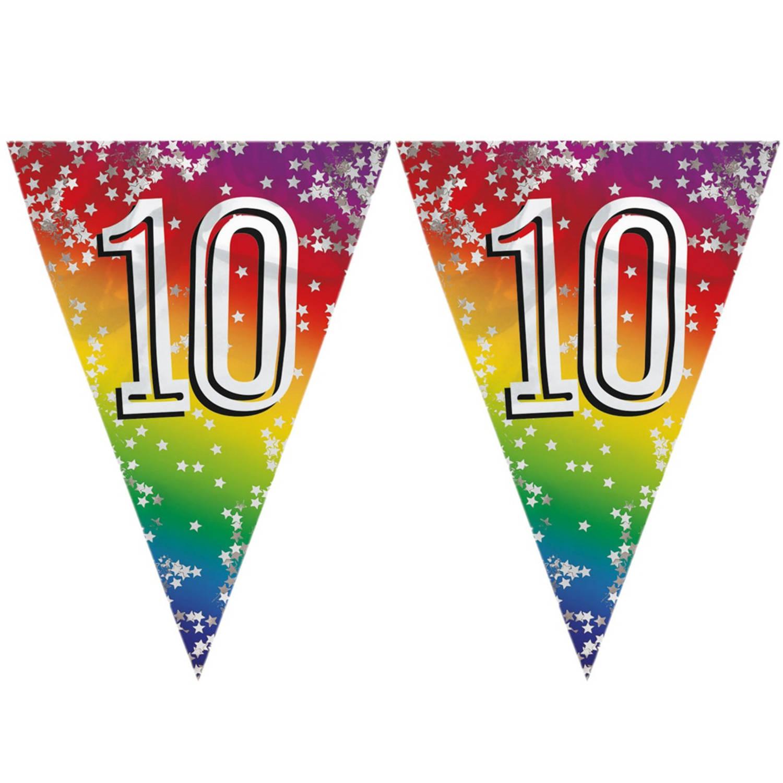 Korting 3x Stuks Vlaggenlijn 10 Jaar Versiering Vlaggetjes Slinger 6 Meter Glitter Folie Binnen buiten Gebruik