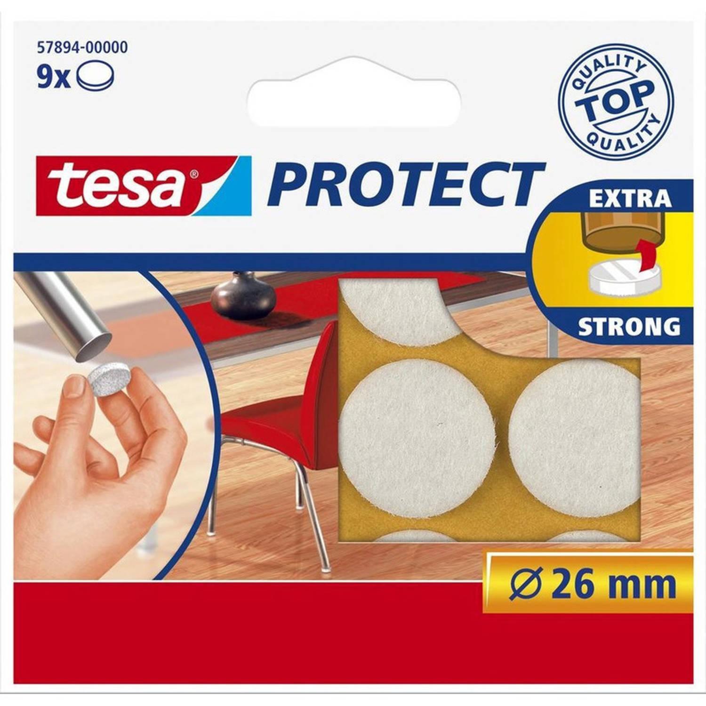 Korting 9x Tesa Meubelvilt Rond Wit 2,6 Cm Vloerbescherming Beschermvilt Meubelvilt Viltglijders Anti kras Vilt