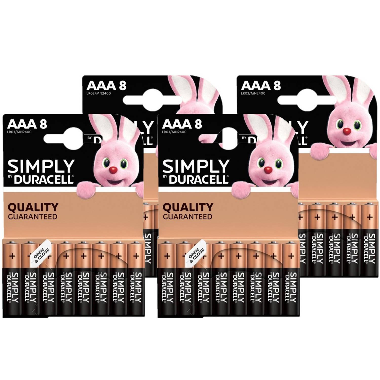 Korting 32x Duracell Aaa Simply Batterijen Alkaline Lr03 Mn2400 1.5 V Minipenlites Aaa Batterijen