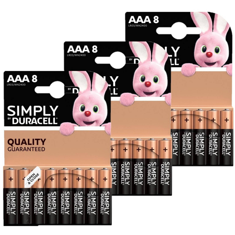 Korting 24x Duracell Aaa Simply Batterijen 1.5 V Alkaline Lr03 Mn2400 Batterijen Pack