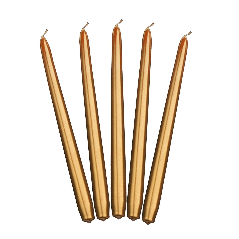 Korting 10x Stuks Dinerkaarsen Goud 24 Cm 5 Branduren Kandelaar Kaarsen