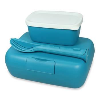 Korting Lunchbox En Bestekset, Oceaan Blauw Koziol Candy Ready