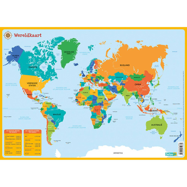 Korting Deltas Onderlegger De Wereldkaart Junior 43 X 30,5 Cm Pvc