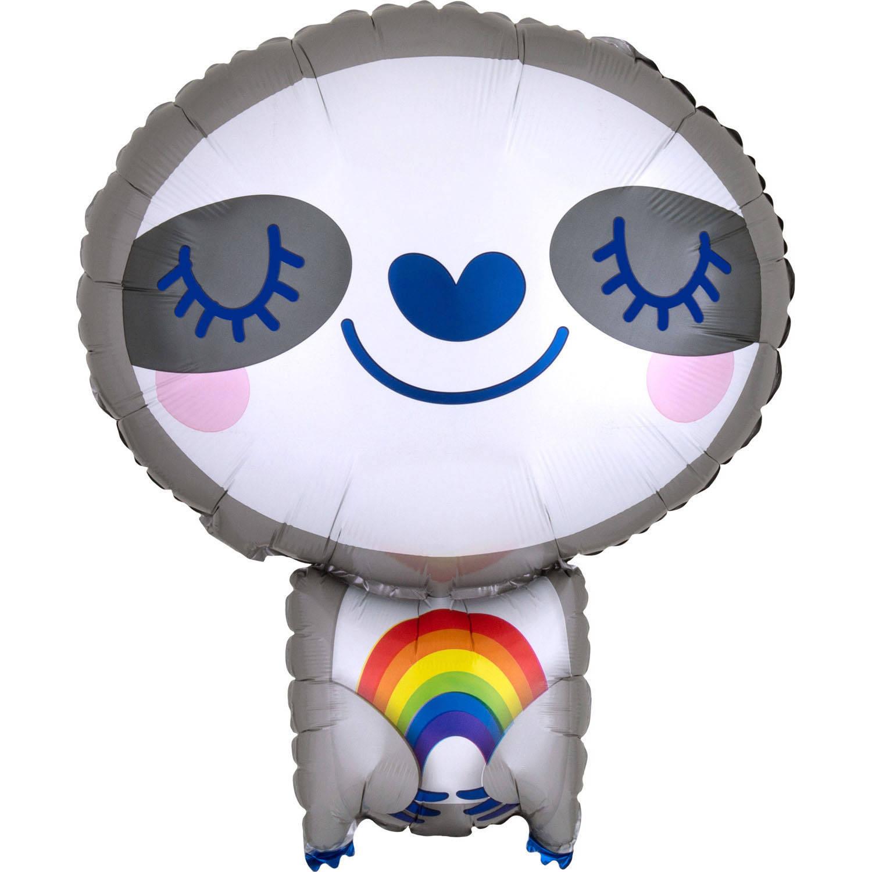 Korting Amscan Folieballon Luiaard 18,5 X 14,5 Cm Grijs wit