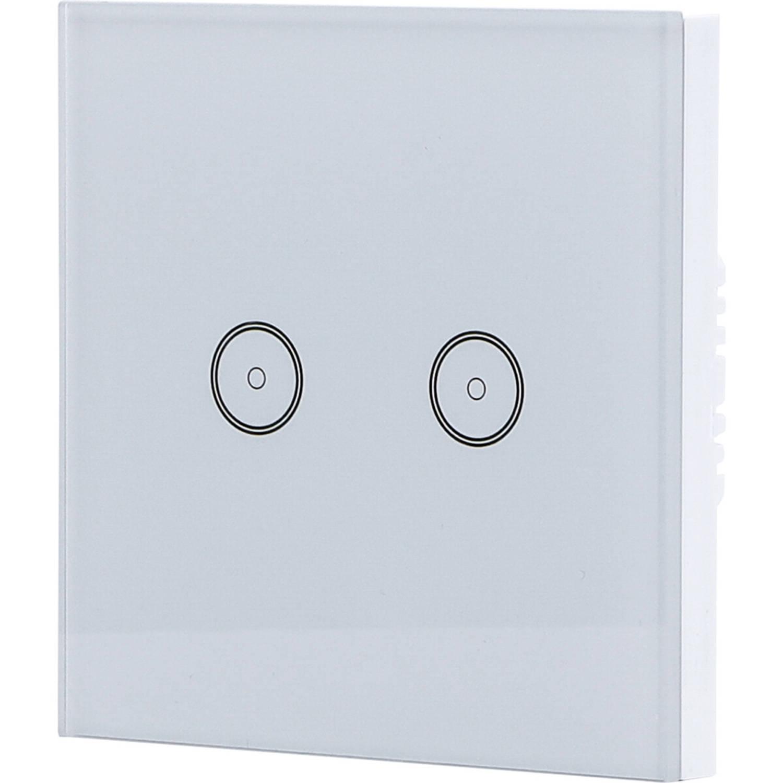 Touchschakelaar Smart Wifi Aigi Smarton Inbouw 2 voudig Touch Schakelaar Incl. Glazen Afdekraam Wit