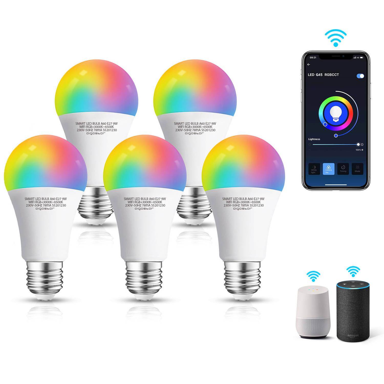 Korting Aigostar Smart Led Bulb Qyi e27 Smart Lamp 9w rgb plus cct appbesturing ios en Android wifi smart Home set Van 5 Stuks