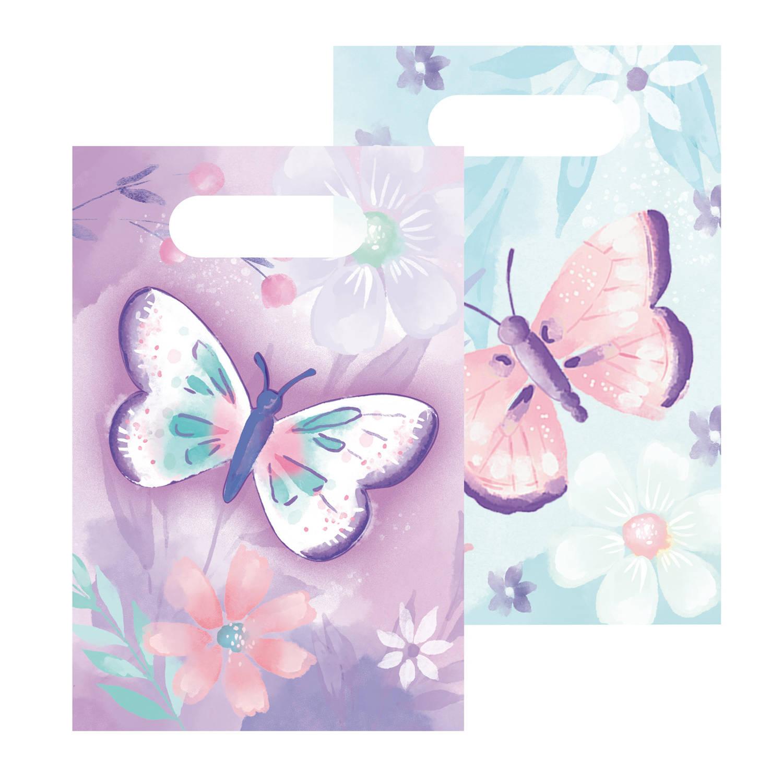 Korting Amscan Uitdeelzakjes Vlinder 23,2 X 16,3 Cm Papier Paars blauw 8 Stuks