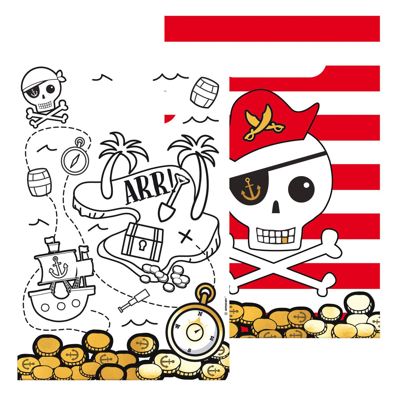 Korting Amscan Uitdeelzakjes Piraten Junior 23 X 16 Cm Papier Wit